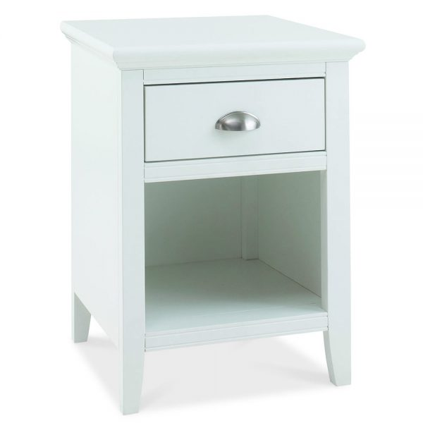 Helena White 1 drawer Bedside Table