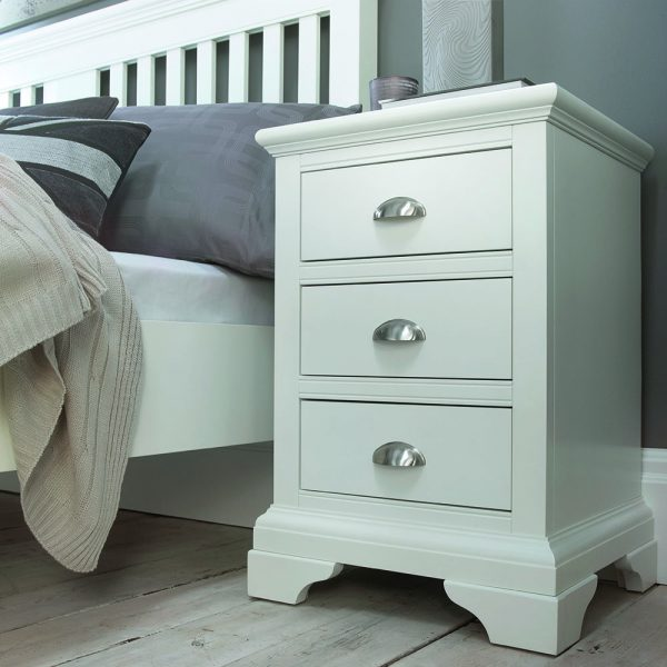Helena White 3 drawer Bedside Table