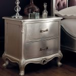 Rococo Bedside Cabinet - Silver Leaf