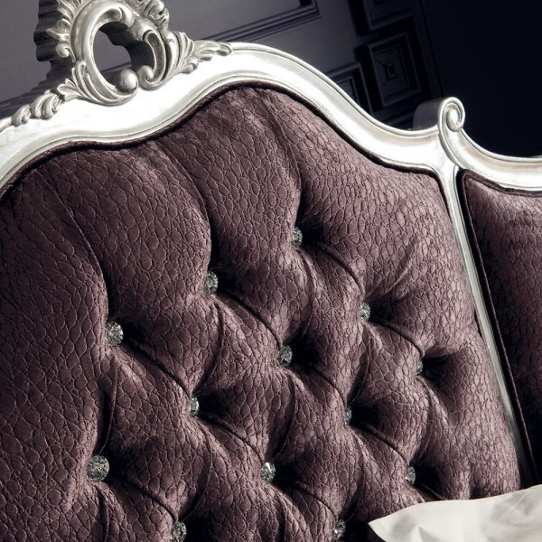 Rococo King  5' Upholstered Panels Bedframe - Silver Leaf / Swarovski Crystal Buttons