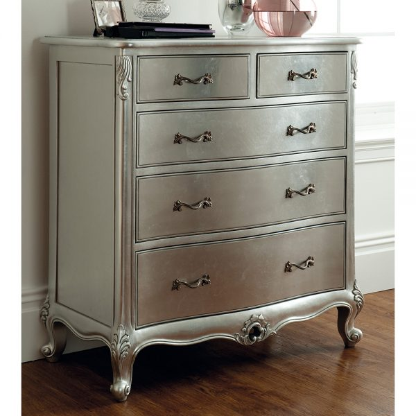 Rococo Chest of Drawers - Antique Silver Leaf