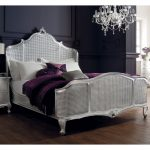 Rococo King 5' Cane Panels Bedframe - Antique Silver Leaf