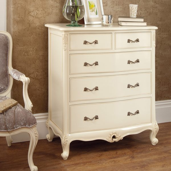 Rococo Chest of Drawers - Painted White Finish