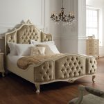 Rococo King 5' Upholstered Panels Bedframe - Painted White Finish