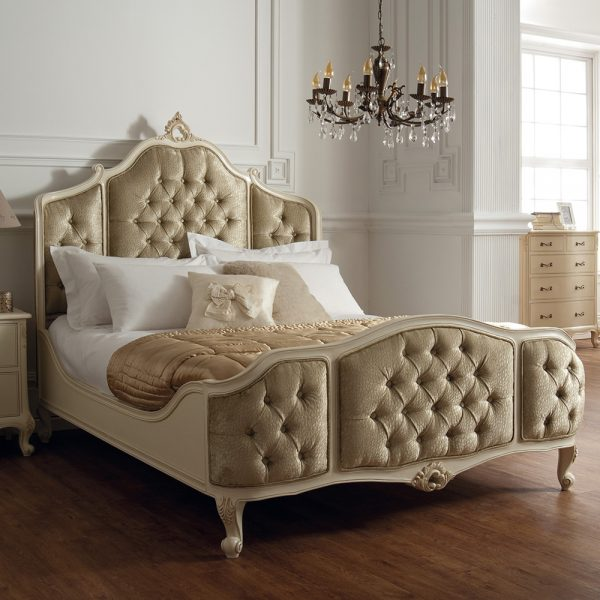 Rococo Superking 6' Upholstered Panels Bedframe - Painted White Finish / Swarovski Crystal Buttons