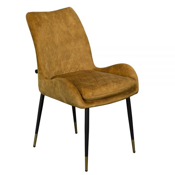 Sarah Dining Chair - Yellow Velvet