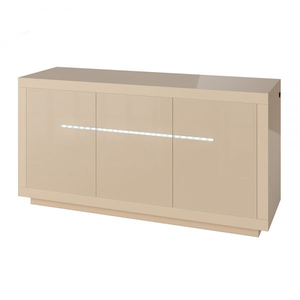 3 Door Sideboard with LED lighting High Gloss Cream