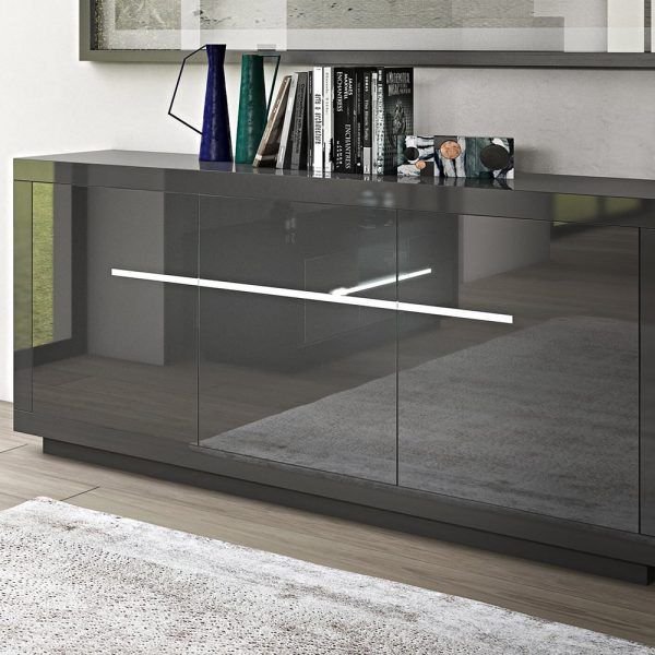 3 Door Sideboard with LED lighting High Gloss Grey
