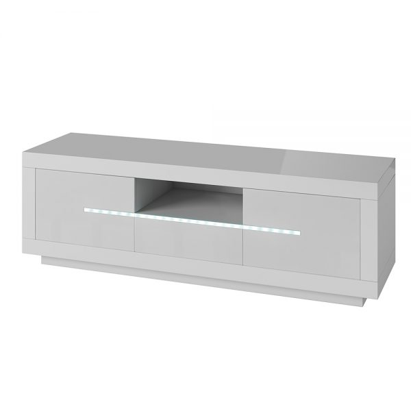Entertainment Unit with LED lighting High Gloss White