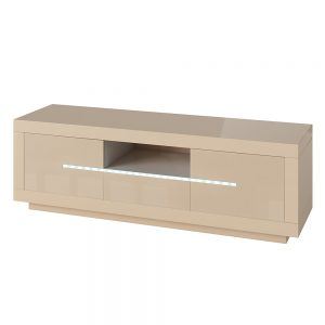 Entertainment Unit with LED lighting High Gloss Cream