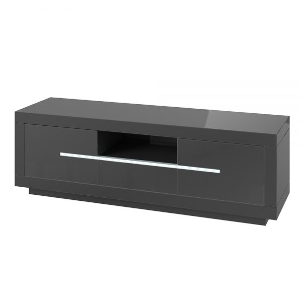 Entertainment Unit with LED lighting High Gloss Grey