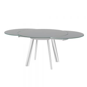 Omega Swivel Extending Glass Dining Table Grey