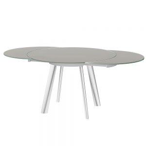 Omega Swivel Extending Glass Dining Table Taupe