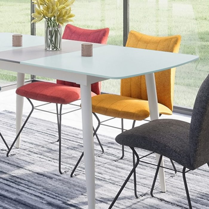 riva dining table and aura dining chairs