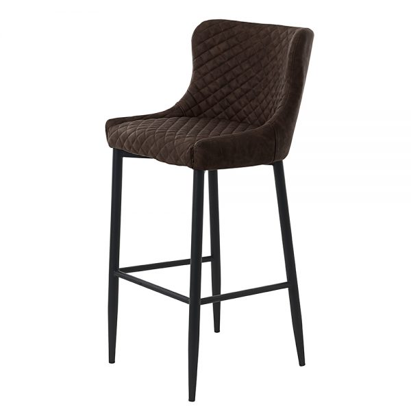 Ottowa Counter Stool Vintage Dark Brown PU with black metal legs