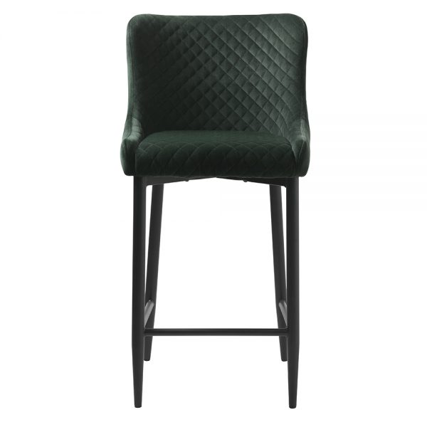 Ottowa Bar Stool Dark Green velvet with black metal legs