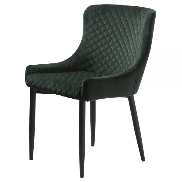 Ottowa Pair of Dining Chairs Dark Green velvet with black metal legs