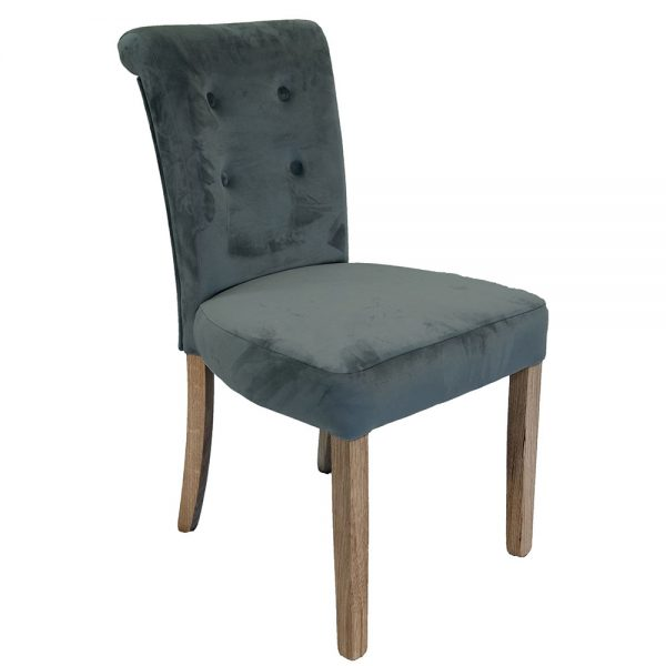 Normandy Dining Chairs - Grey Velvet