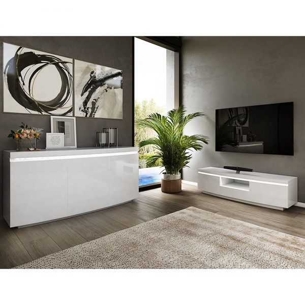 Florence 3 Door Sideboard with LED Grey High Gloss