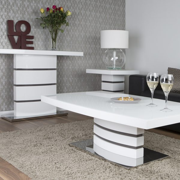 San Marino White Console Table with Glass Top