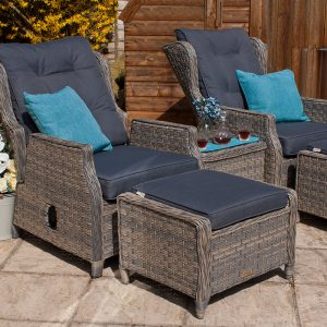 High Back Garden Reclining Armchair Set