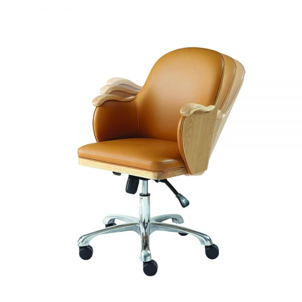 Executive Office Chair - Tan / Oak