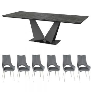 Westin Extendable Dining Table and 6 Spinello Dining Chairs