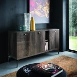 Vega Buffet Side Table with 3 Doors - Oak / Concrete