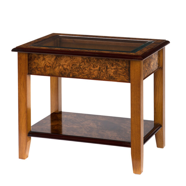 Walnut Collection Glass Top Coffee Table