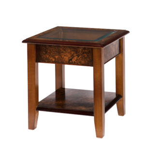 Walnut Collection Glass Top Lamp Table