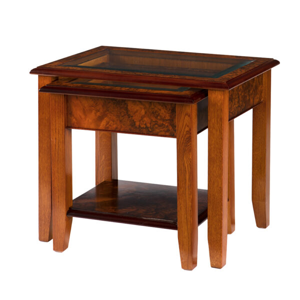 Walnut Collection Glass Top Nest of Tables