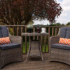 Garden Bistro Set with 2 Wing Back Armchairs