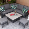 Petite Corner Garden Dining Set with Height Adjustable Table