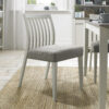 Bergen Pair of Low Slat Back Dining Chairs Grey Washed / Titanium Fabric