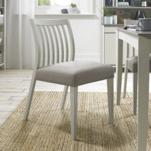 Bergen Pair of Low Slat Back Dining Chairs Grey Washed / Grey Leather