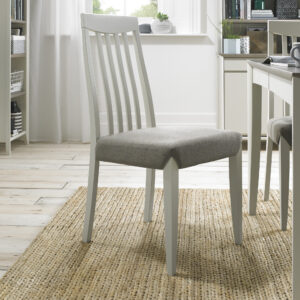 Bergen Pair of Slat Back Dining Chairs Grey Washed / Titanium Fabric