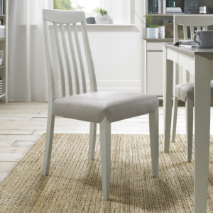 Bergen Pair of Slat Back Dining Chairs Grey Washed / Grey Leather