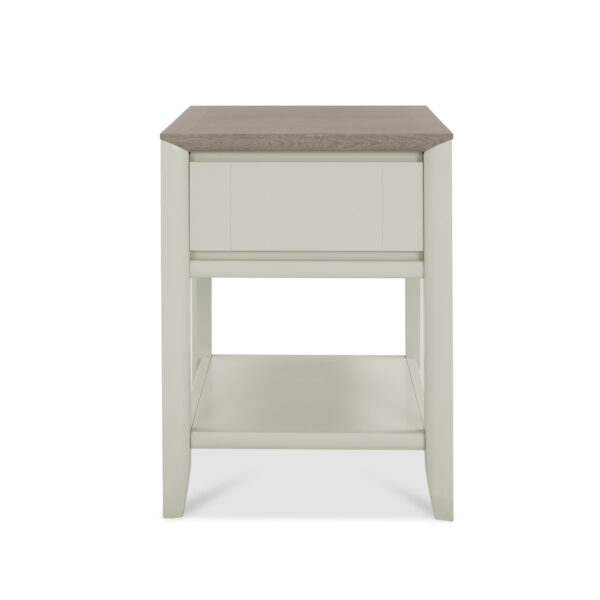 Bergen Lamp Table with Drawer Grey Washed Oak and Soft Grey