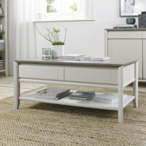 Bergen Coffee Table with Drawer Grey Washed Oak and Soft Grey