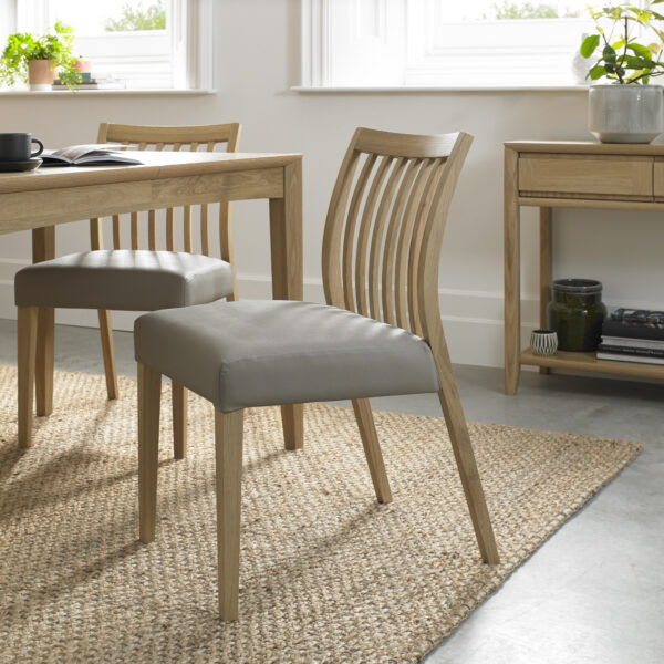 Bergen Pair of Low Slat Back Dining Chairs Grey Leather