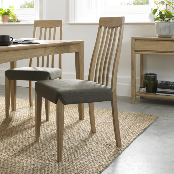 Bergen Pair of Slat Back Dining Chairs Black Gold Fabric