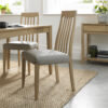 Bergen Pair of Slat Back Dining Chairs Grey Leather
