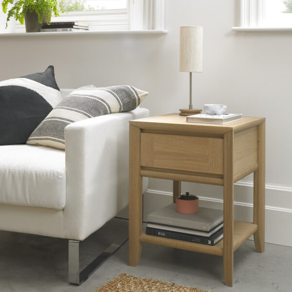Bergen Lamp Table with Drawer Oak