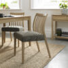 Bergen Pair of Low Slat Back Dining Chairs Black Gold Fabric