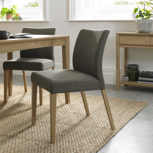 Bergen Upholstered Dining Chair Black Gold Fabric